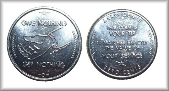 Zero Cents Tip Coin