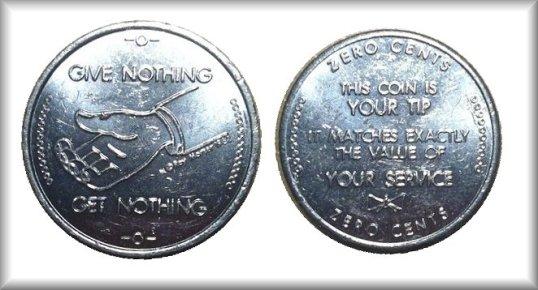 Zero Cents Tip Coin