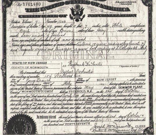 Rafaelle Naturalization Certificate