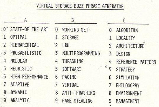 Virtual Storage Buzz Phrase Generator