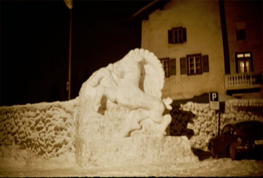 Romansch Area - Horse Snow Sculpture