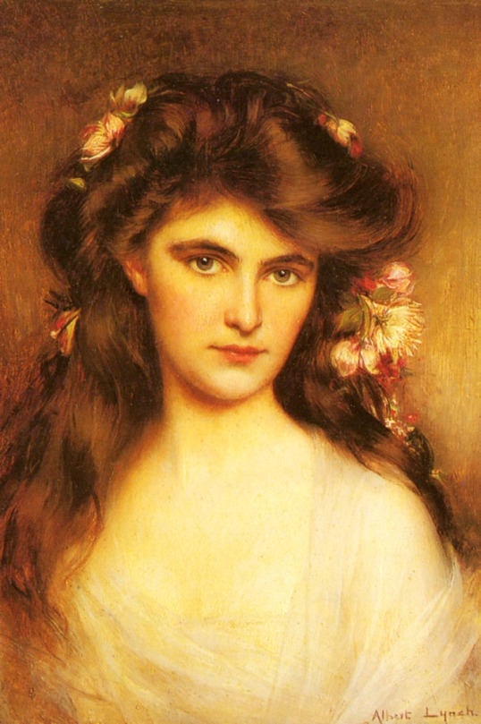Lynch_Albert_A_Young_Beauty_With_Flowers_In_Her_Hair