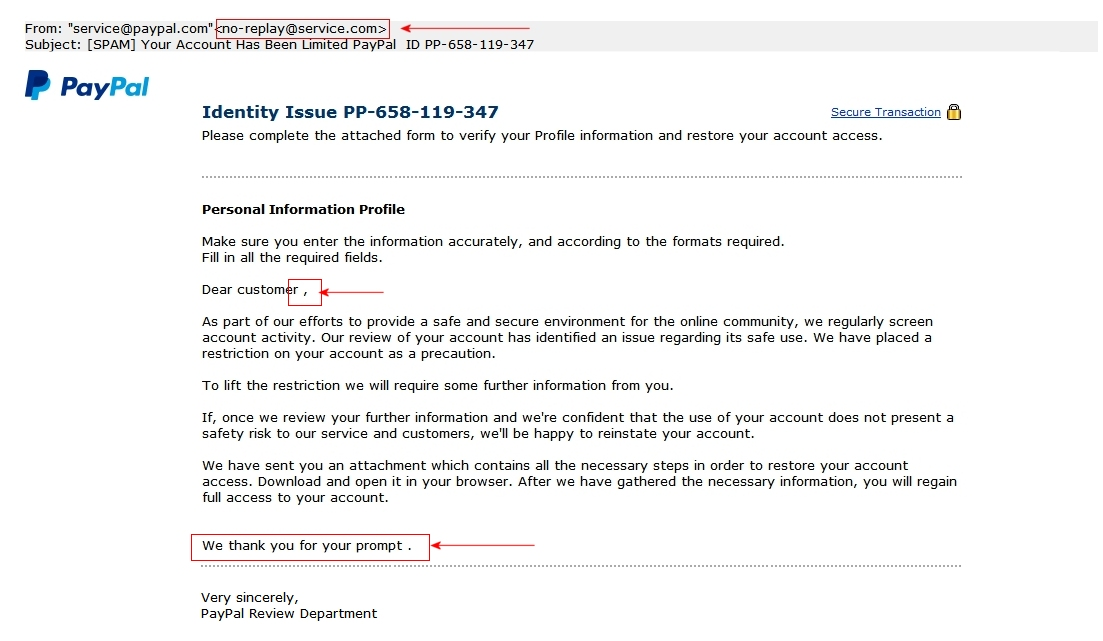 Phishing Examples 2013 PayPal Scam: Your acco...