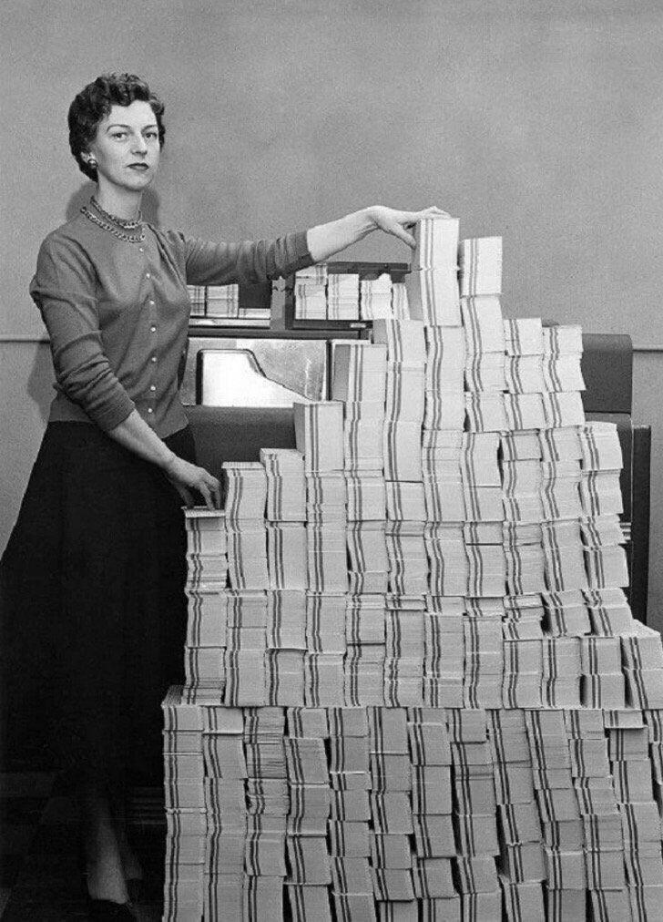 4.5 megs data in 62500 punch cards, 1955