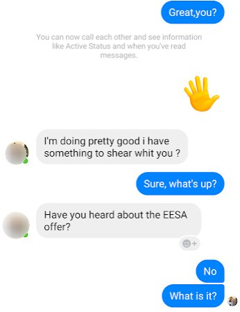 """The Facebook Scammers and the """"EESA Grant"""" scam 